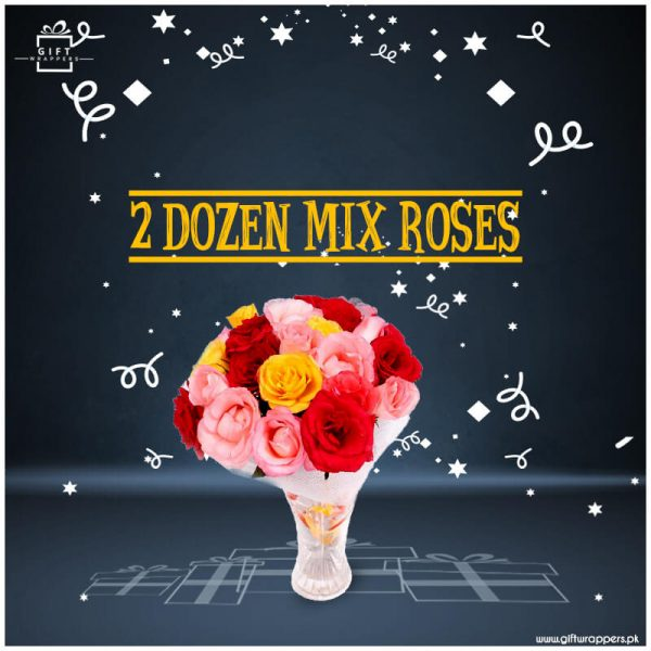 2-Dozen-Mix-Roses with bunch