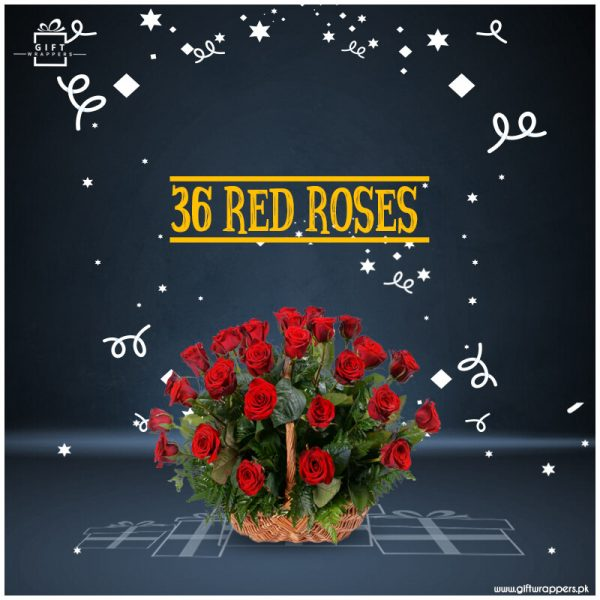 36-red-Roses with basket