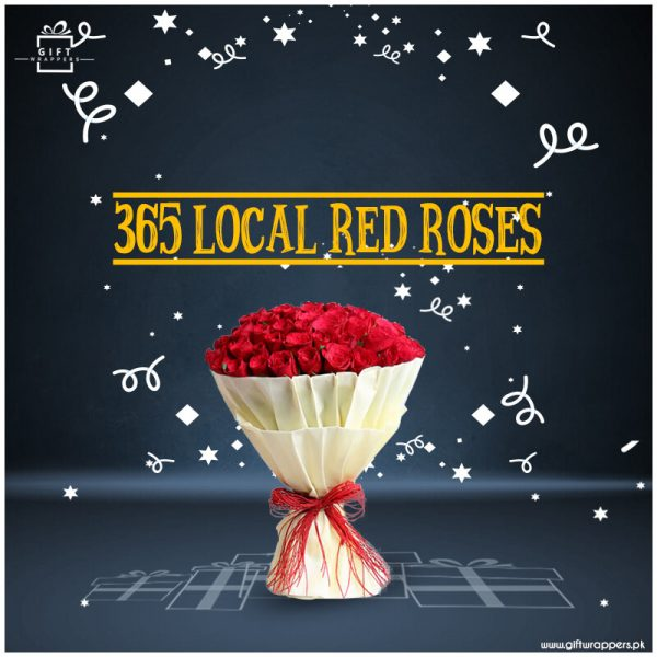365-Local-Red-Roses with beautiful bouqet