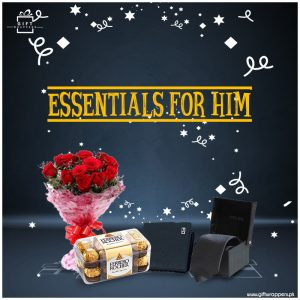Essentials-for-Him-with flower bouqet