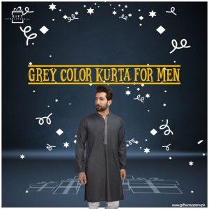 Grey-Color-Kurta-for-Men- by outlet