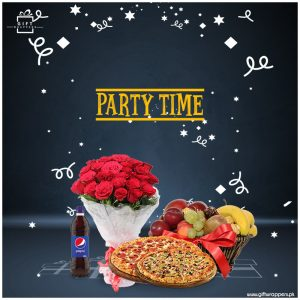 Party-Time with flowers and pizzas
