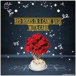 Red-Roses-in-a-Cane-Vase-with-Cake