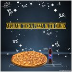 Afghani-Tikka-Pizza-With-Drink