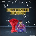 Cookies-Gift-Tower-with-Medium-Bouquet