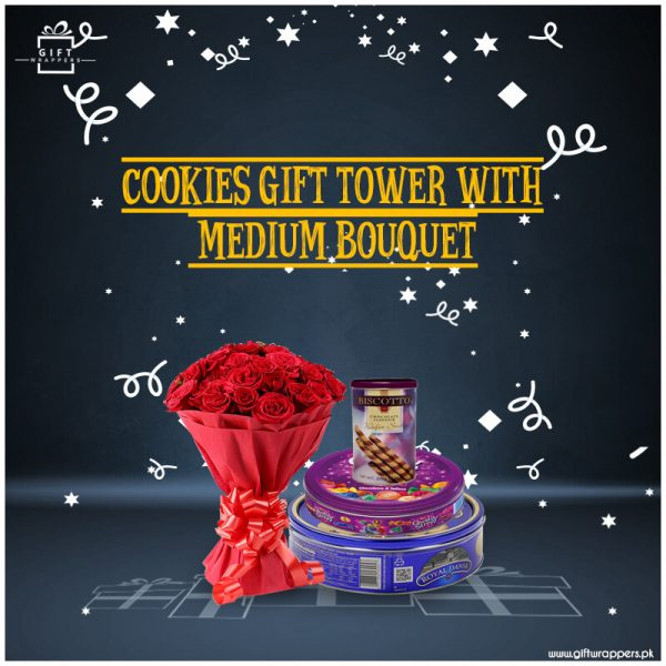 Cookies-Gift-Tower-with-Bouquet