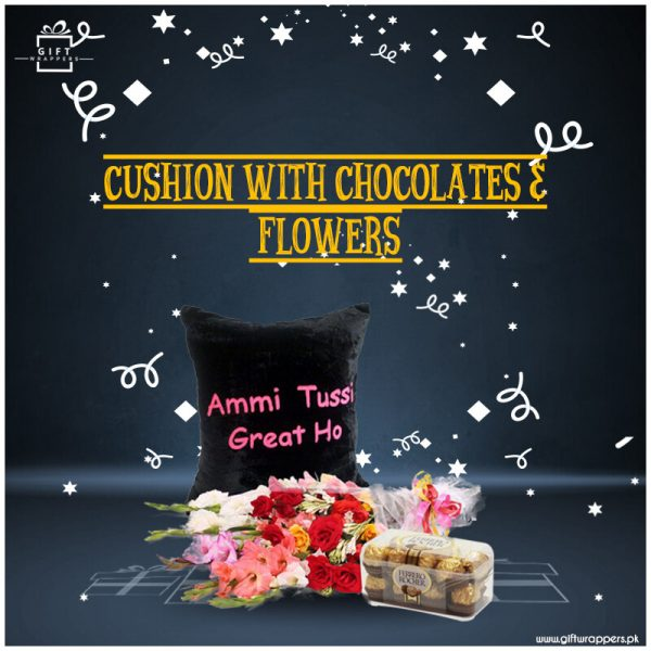 Cushion-With-Chocolates-Flowers