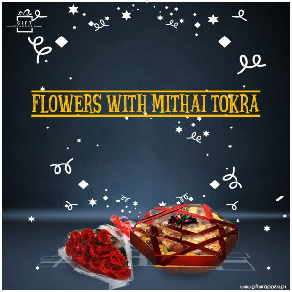 Flowers bouqets-With-Mithai-Tokra
