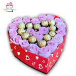 PINK ROSES WITH FERRRERO ROCHER IN HEART SHAPE BOX